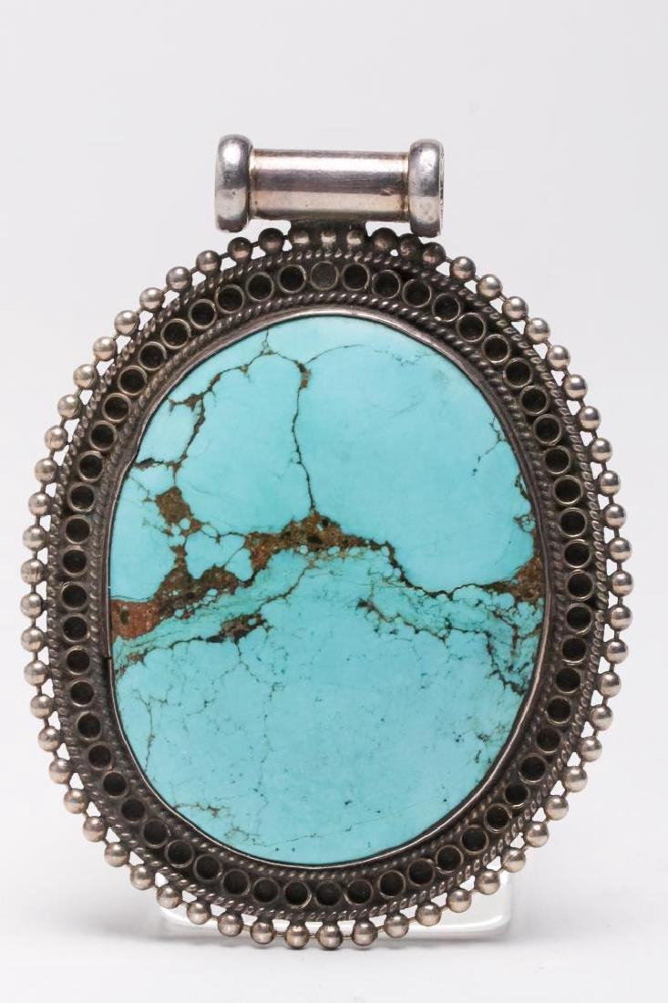 Tibetan Turquoise Pendant, in Sterling Silver
