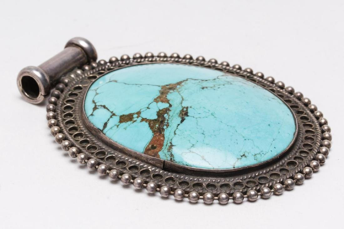 Tibetan Turquoise Pendant, in Sterling Silver - 2