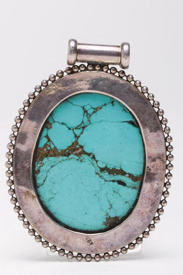 Tibetan Turquoise Pendant, in Sterling Silver - 3