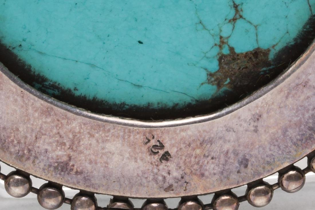 Tibetan Turquoise Pendant, in Sterling Silver - 4
