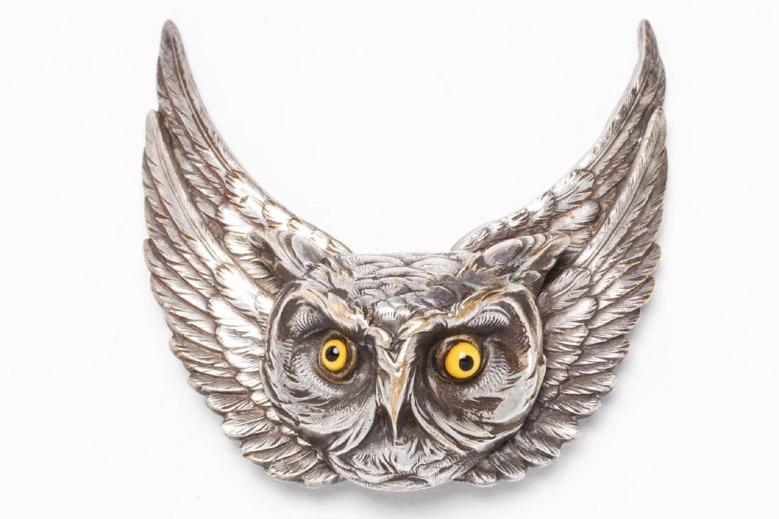Owl-Form Belt Buckle, Silver-Plate, Steampunk