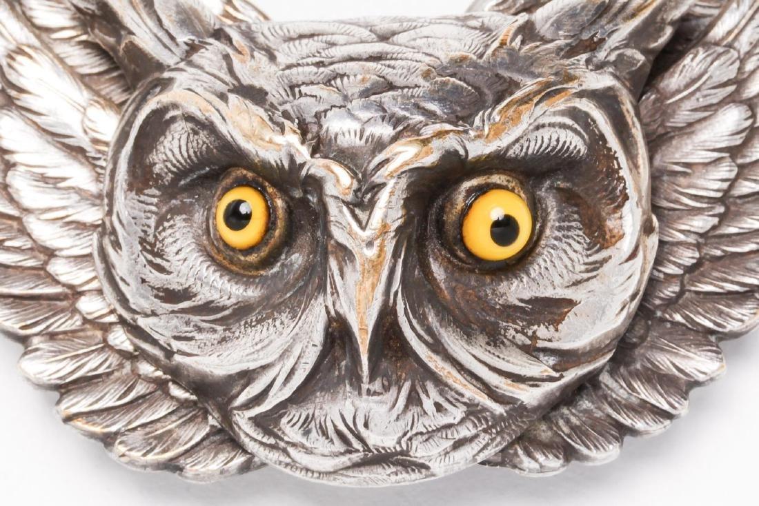 Owl-Form Belt Buckle, Silver-Plate, Steampunk - 2