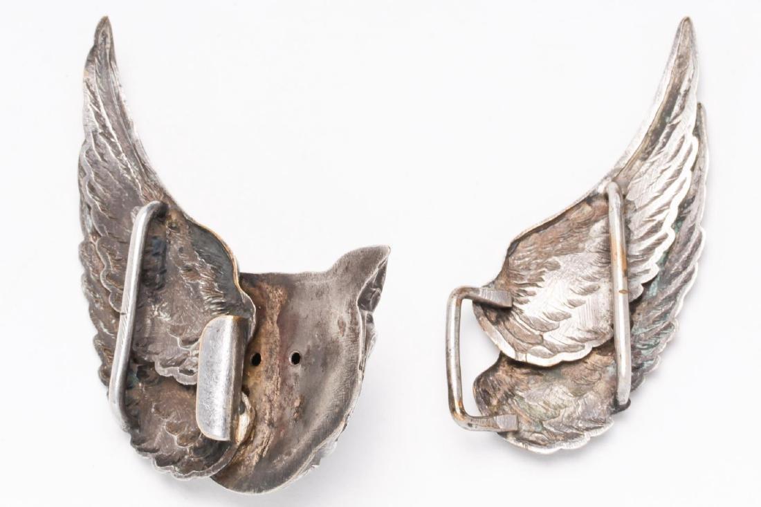 Owl-Form Belt Buckle, Silver-Plate, Steampunk - 3