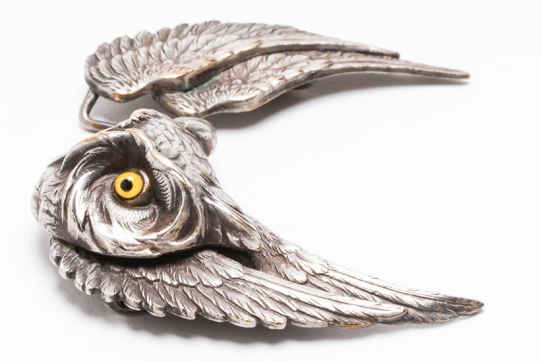 Owl-Form Belt Buckle, Silver-Plate, Steampunk - 4