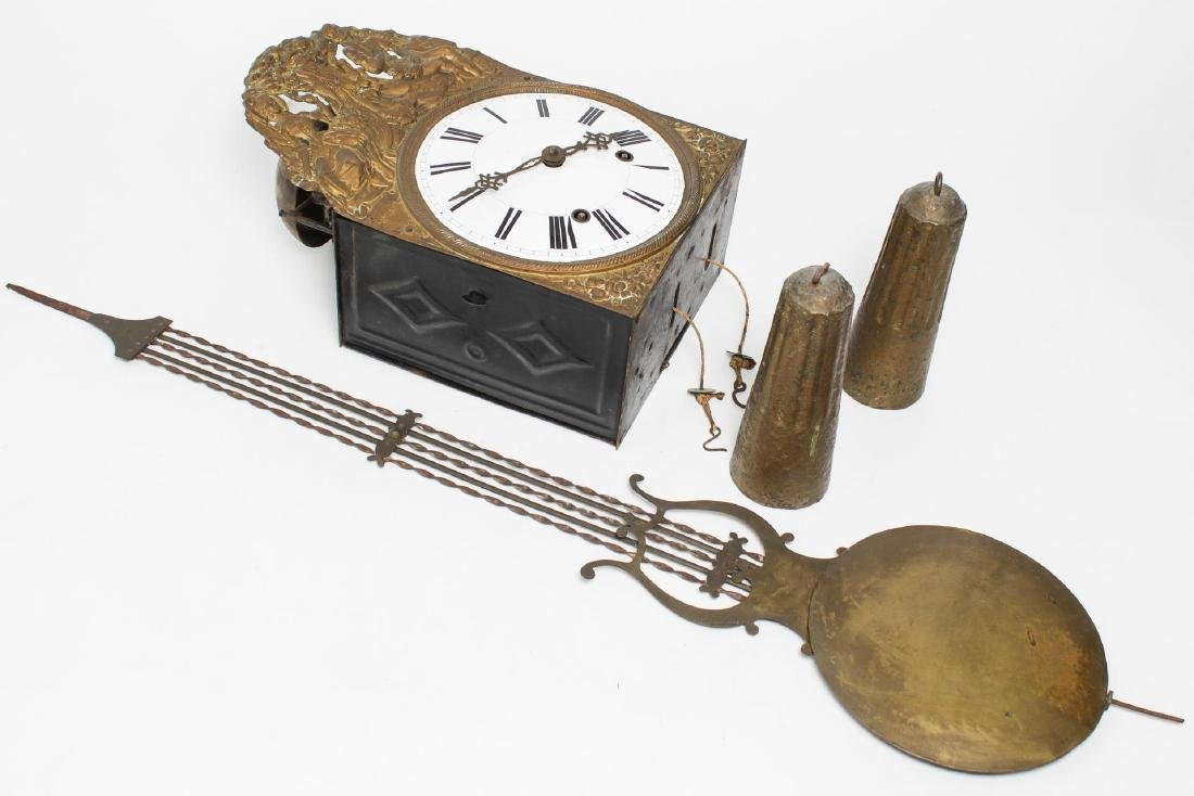 Continental Wag-On Wall Clock, Stamped Gilt Brass