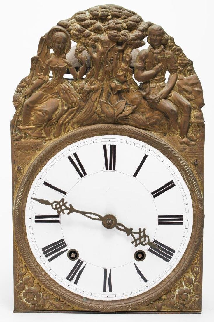 Continental Wag-On Wall Clock, Stamped Gilt Brass - 2