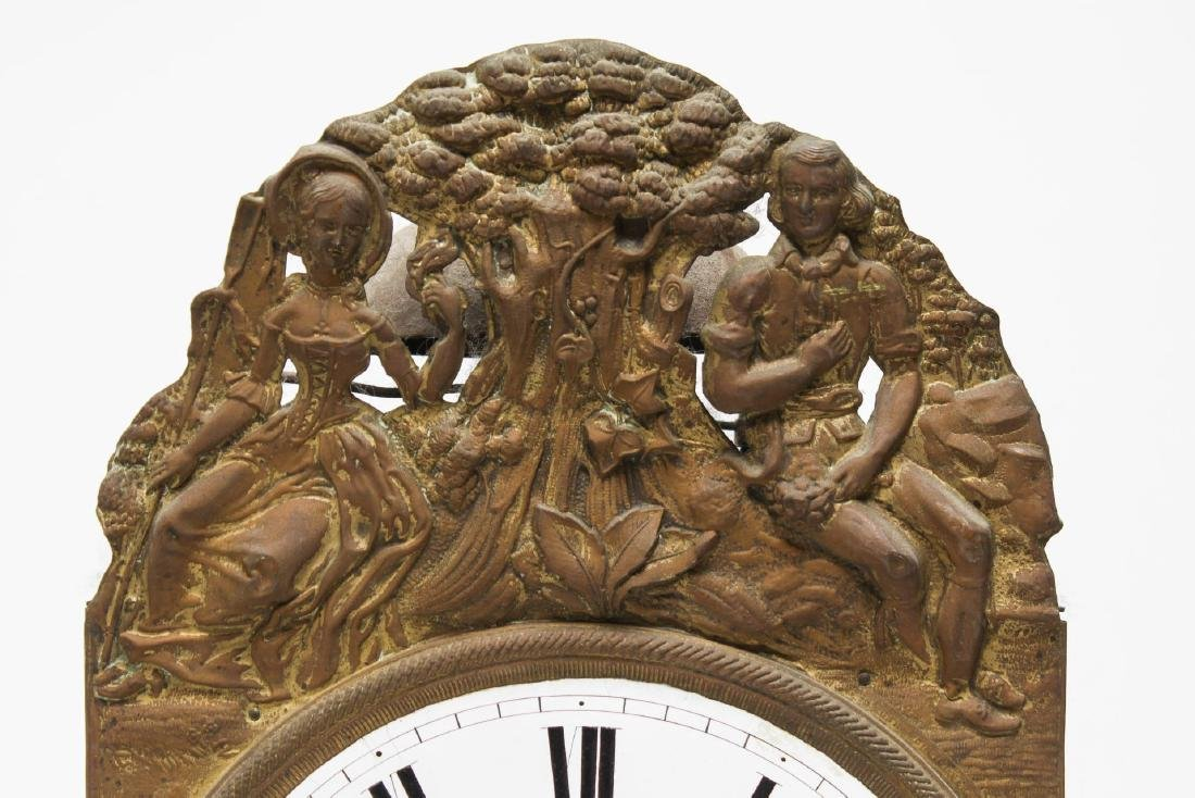Continental Wag-On Wall Clock, Stamped Gilt Brass - 3