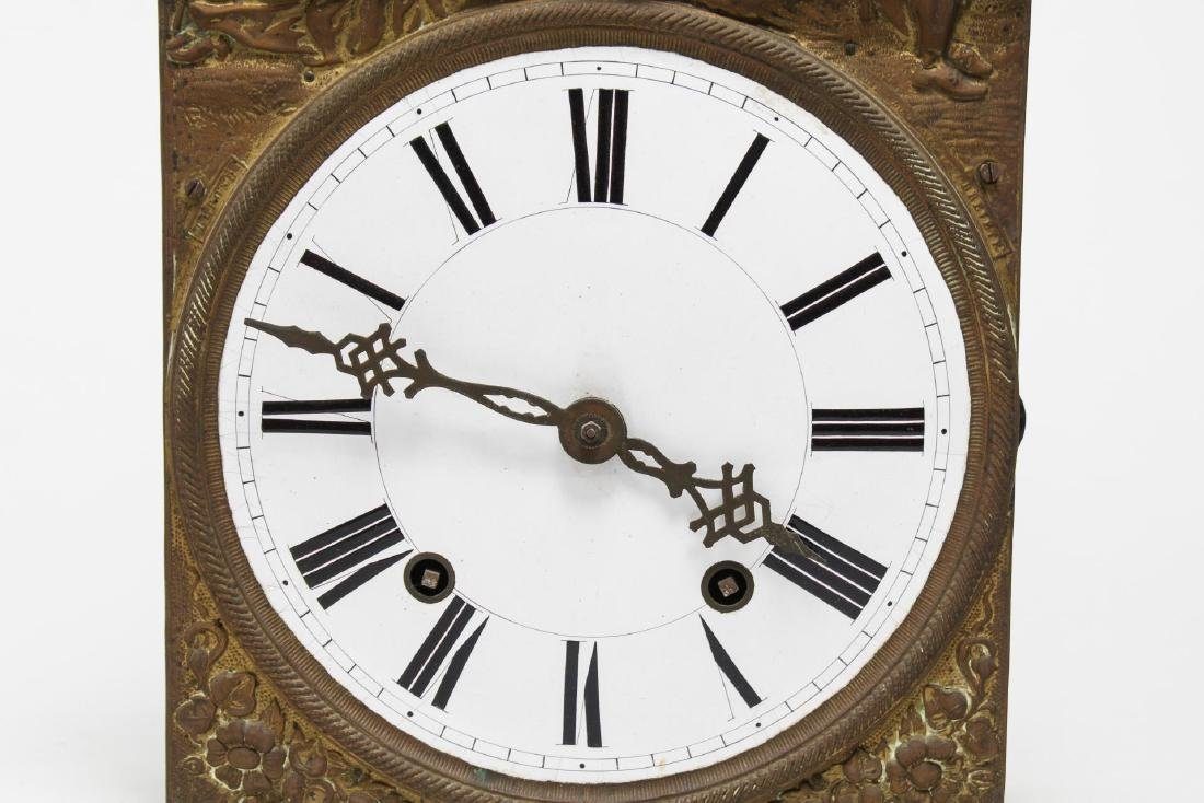 Continental Wag-On Wall Clock, Stamped Gilt Brass - 4