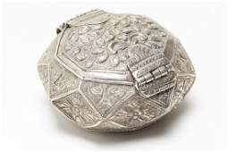 Islamic Silver Box Octagonal w Chasing  Repousse