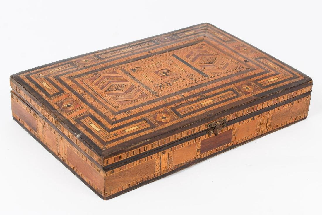 Syrian Parquetry Box, Inlaid Wood, Hinged