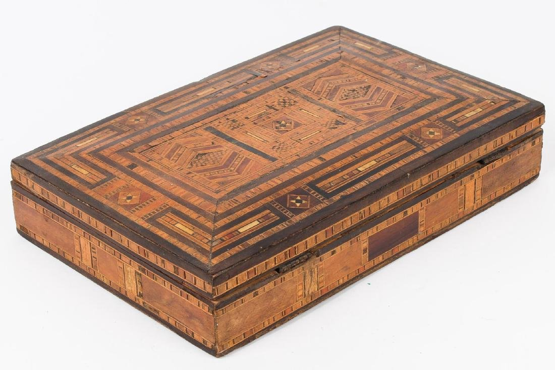 Syrian Parquetry Box, Inlaid Wood, Hinged - 2