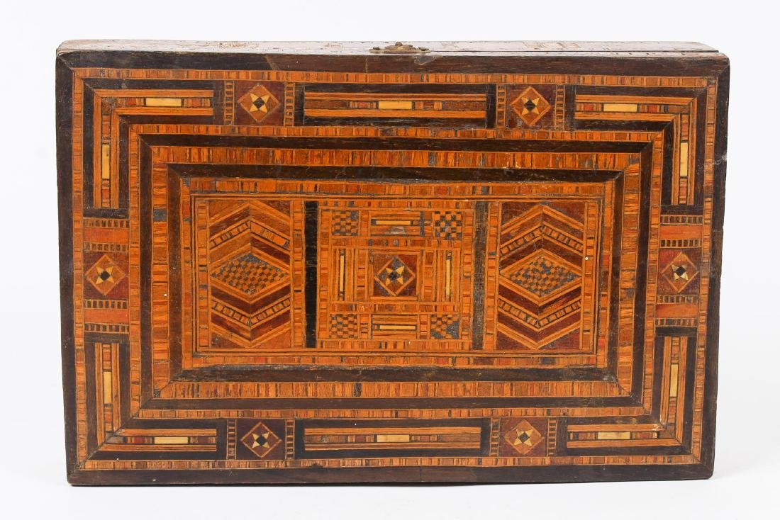 Syrian Parquetry Box, Inlaid Wood, Hinged - 3