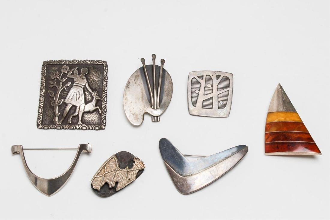 Modernist & Other Silver Pins, inc. Tone Vigland