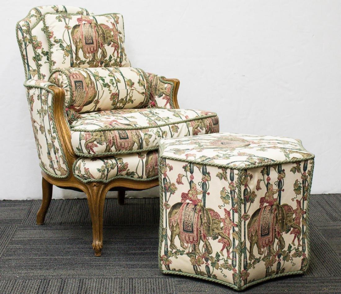 Louis XV-Manner Bergere Chair, Ottoman & Pillows