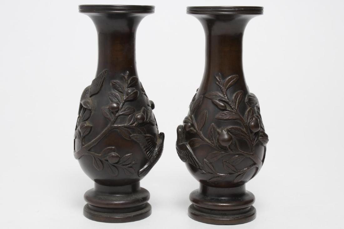 Japanese Meiji Bronze Baluster Vases, Antique Pair