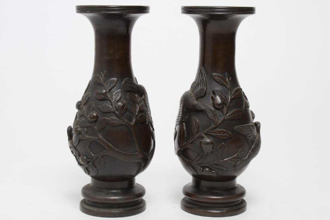 Japanese Meiji Bronze Baluster Vases, Antique Pair - 3