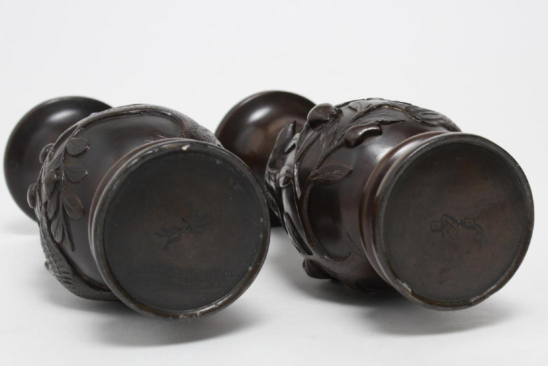 Japanese Meiji Bronze Baluster Vases, Antique Pair - 4