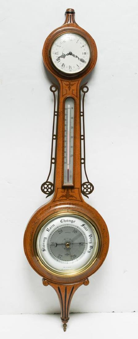 English Marquetry Fruitwood Barometer-Clock