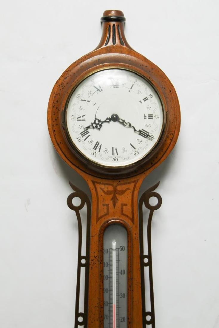 English Marquetry Fruitwood Barometer-Clock - 2