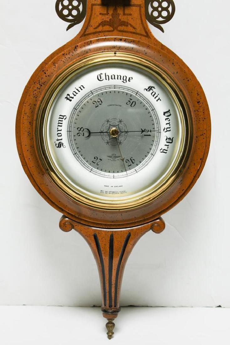 English Marquetry Fruitwood Barometer-Clock - 4