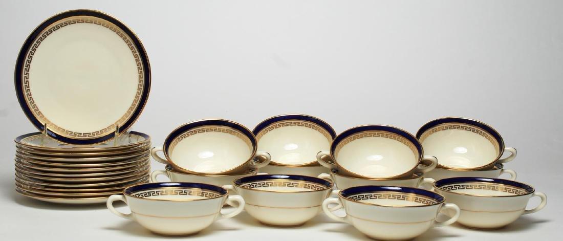 """Lenox Porcelain """"Greek Key"""" Soup Bowls & Saucers"""