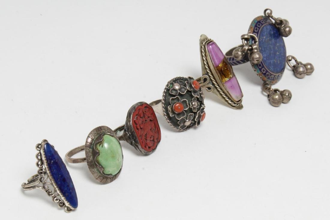 Silver & Stone-Set Rings inc. Lapis, 6 Pieces
