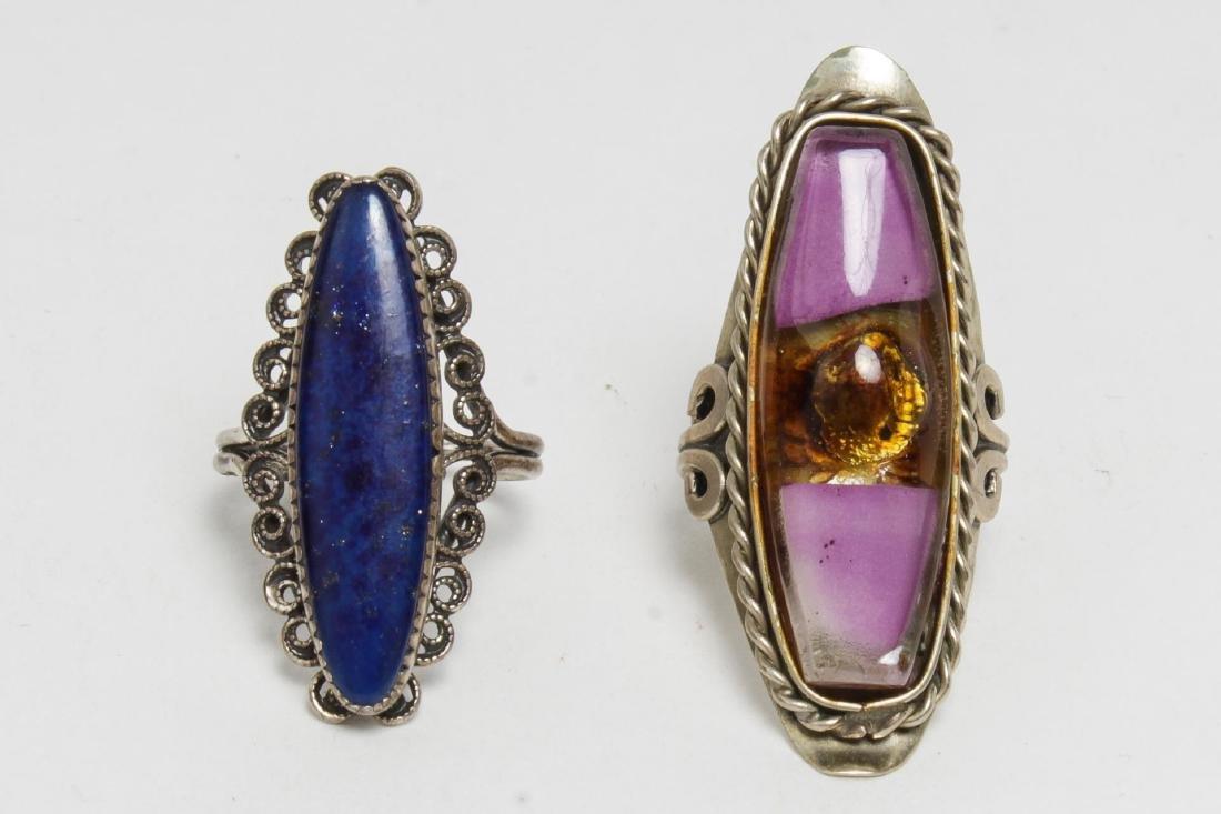 Silver & Stone-Set Rings inc. Lapis, 6 Pieces - 2