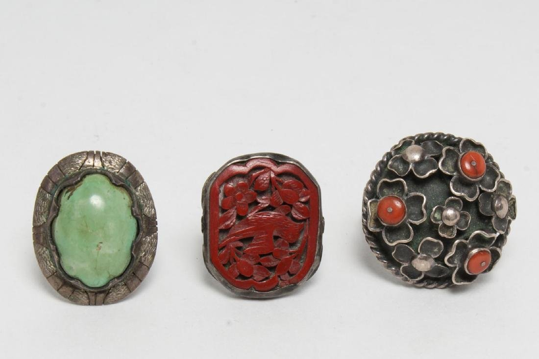 Silver & Stone-Set Rings inc. Lapis, 6 Pieces - 4