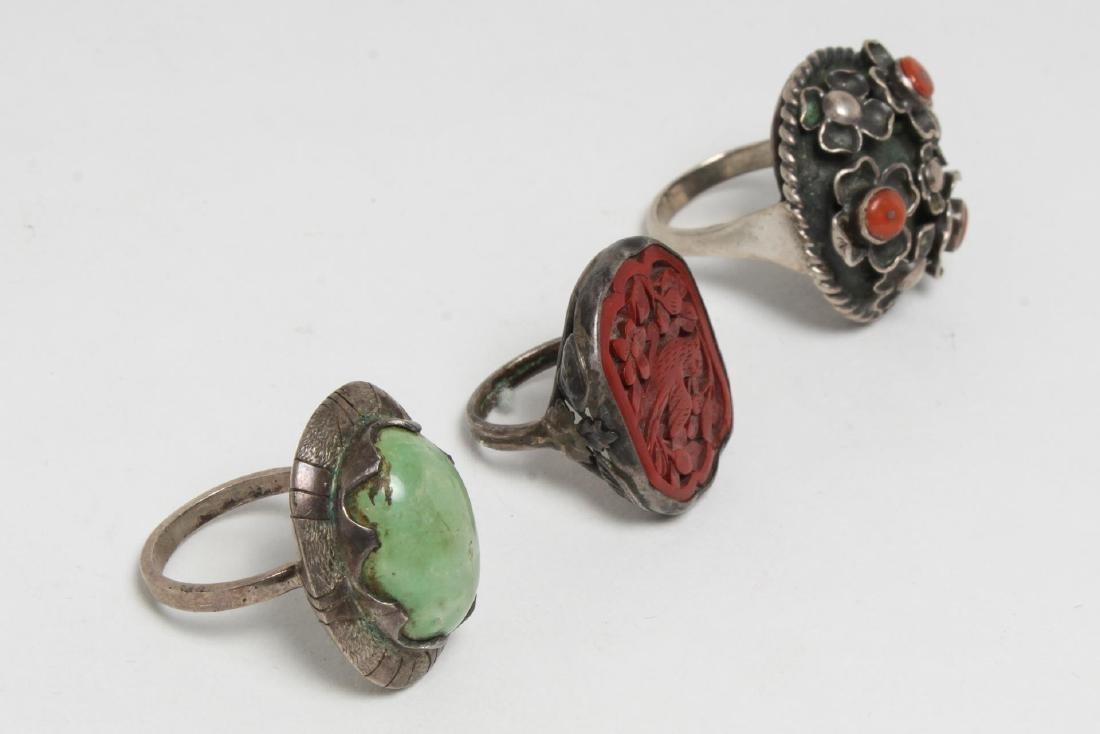 Silver & Stone-Set Rings inc. Lapis, 6 Pieces - 5