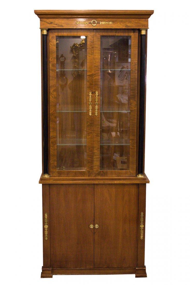 Baker Display Cabinet, Empire-Manner, Wood & Glass