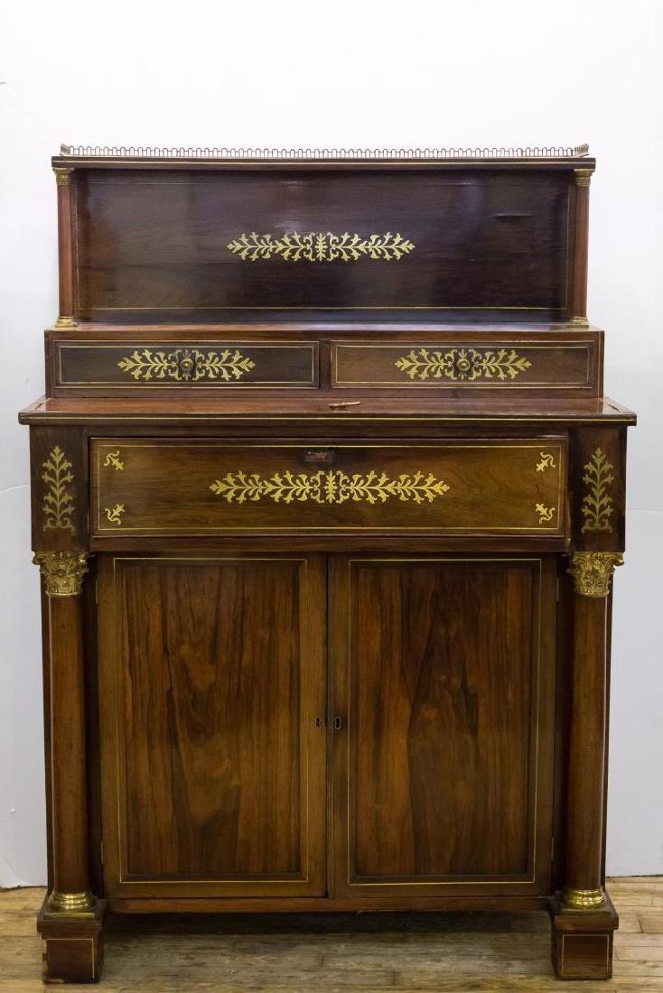 English Regency Writing Desk, Wood w. Brass Inlay