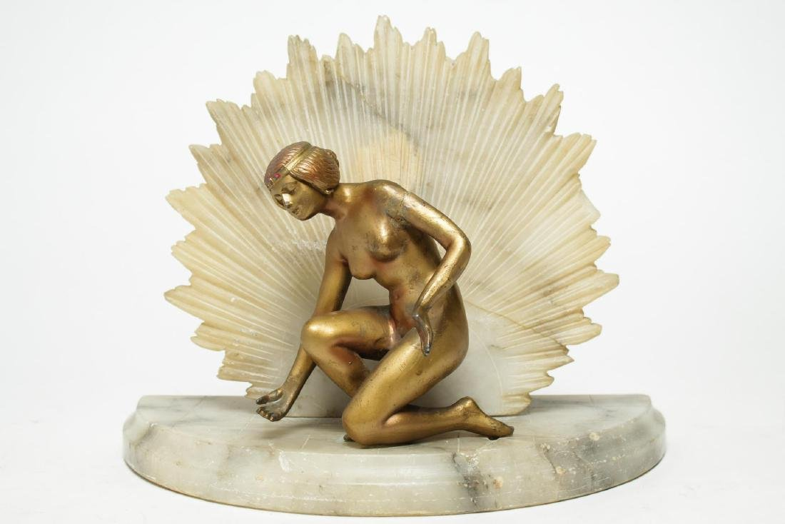 Art Deco Alabaster Lamp, Gilt & Cold-Painted Nude
