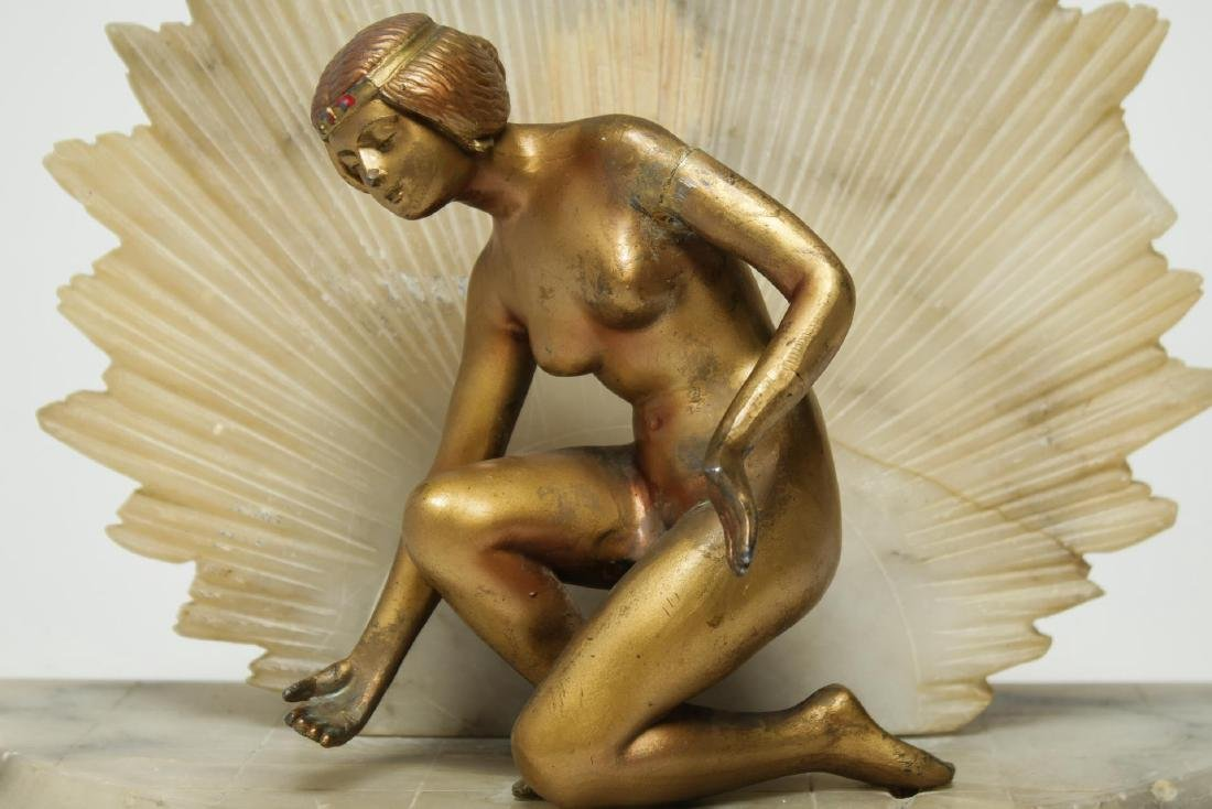 Art Deco Alabaster Lamp, Gilt & Cold-Painted Nude - 2