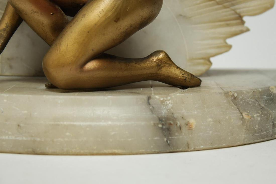 Art Deco Alabaster Lamp, Gilt & Cold-Painted Nude - 3