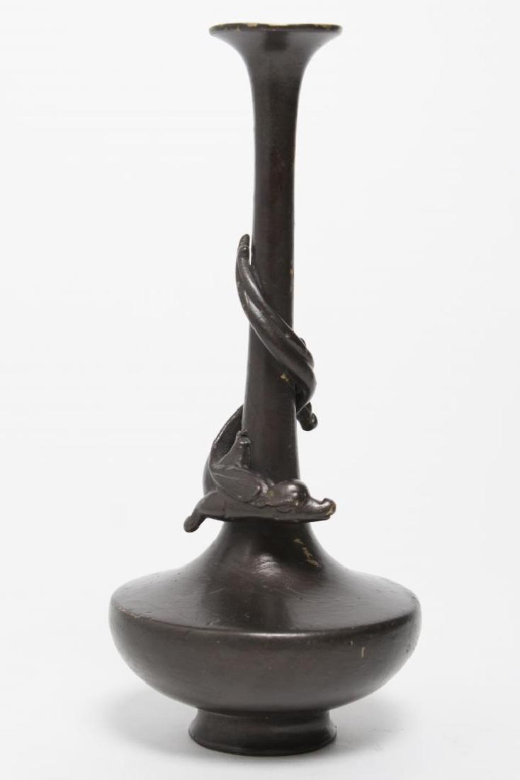 Asian Bronze Chiwen Bottle Vase, Brown-Patinated