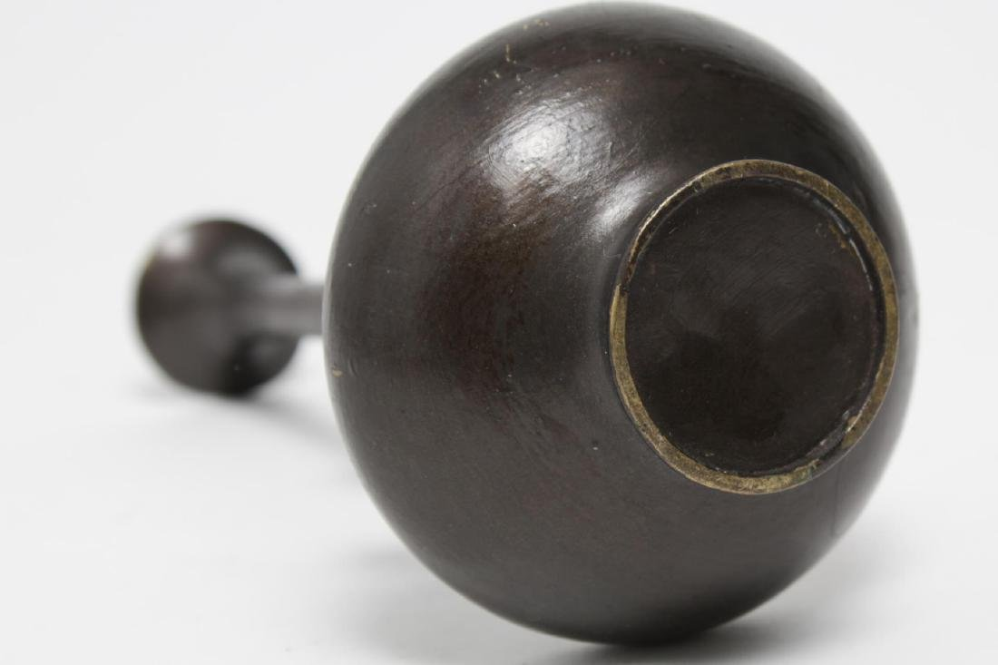 Asian Bronze Chiwen Bottle Vase, Brown-Patinated - 5