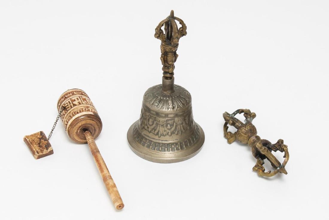 Tibetan Cast Metal Bell & Dorje, Bone Prayer Wheel