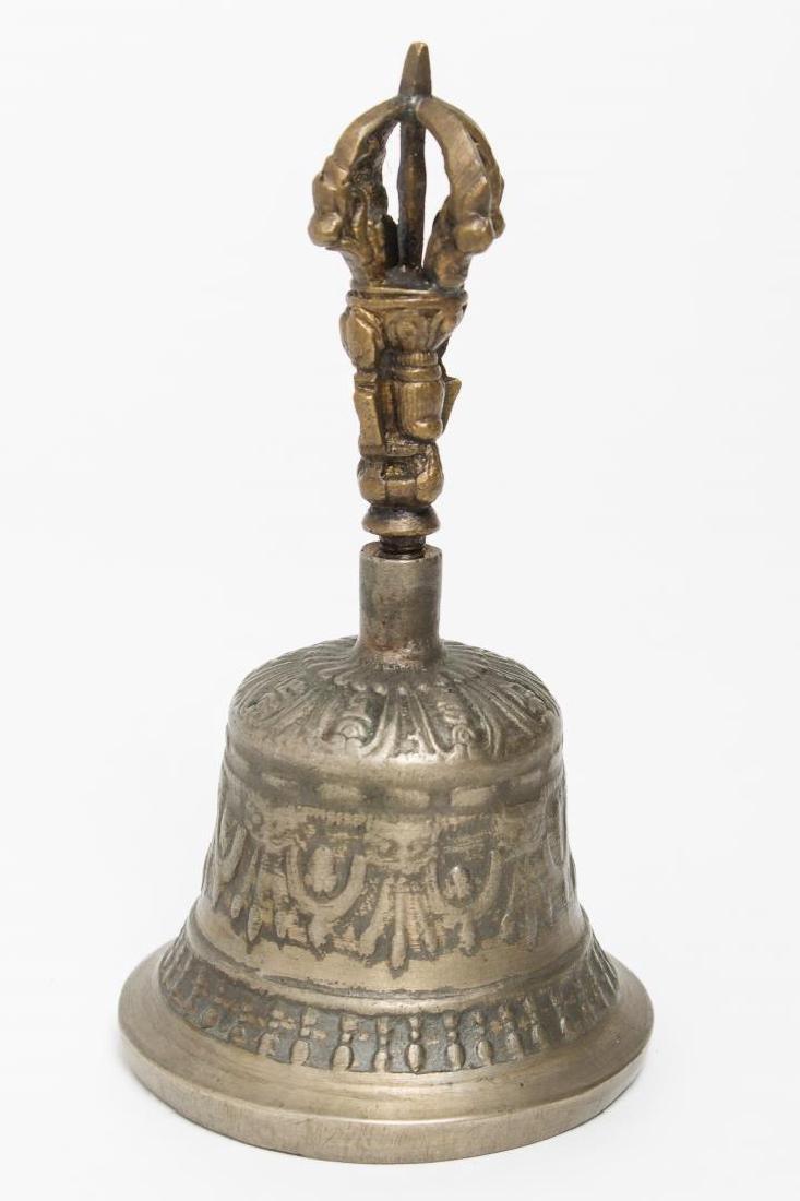 Tibetan Cast Metal Bell & Dorje, Bone Prayer Wheel - 2