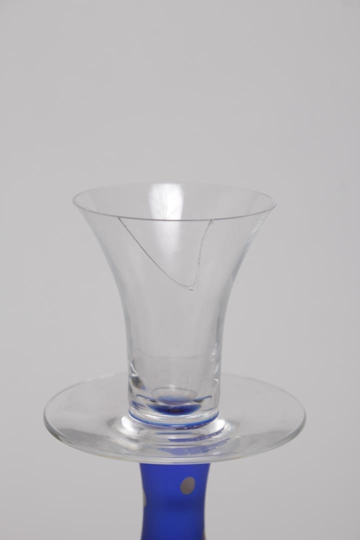 Cobalt Blue & Silver Art Glass Candlestick, Signed - 2