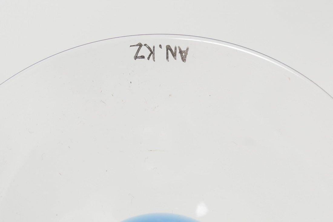 Cobalt Blue & Silver Art Glass Candlestick, Signed - 3