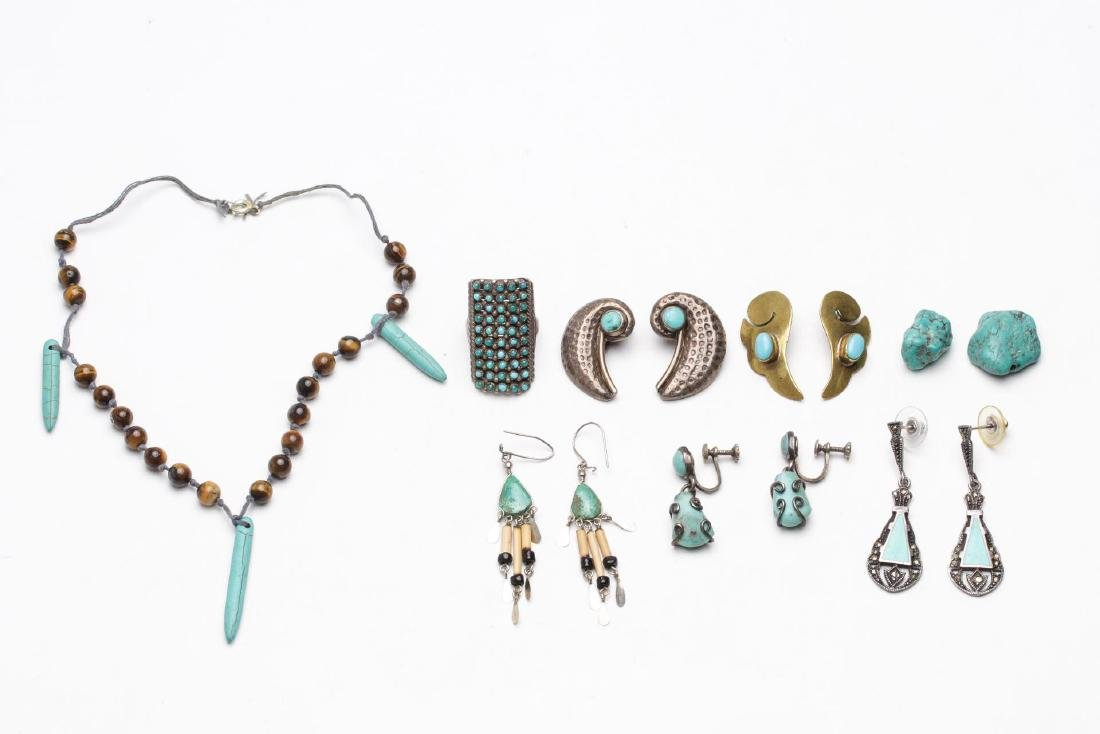Turquoise, Silver, Brass & Silver-Tone Jewelry, 9