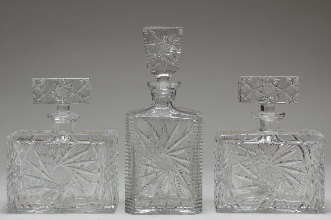 Vintage Crystal Decanters, Pinwheel-Cut, 3 Pcs