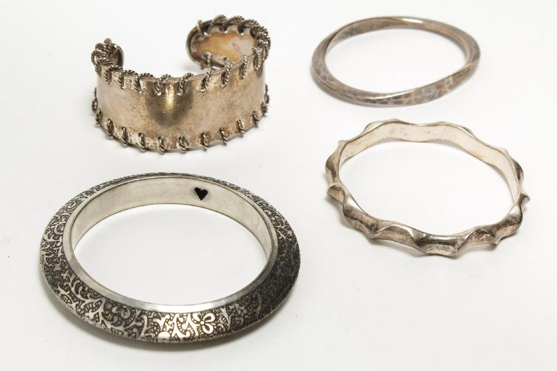 Bracelets, Silver & Silver-Tone Metal, Group of 4