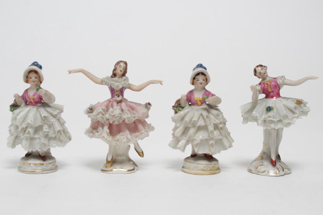 Dresden German Porcelain Lace Figurines, 4