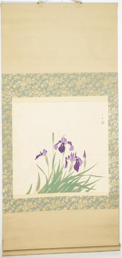 Chinese Hanging Scroll Painting, Purple Irises
