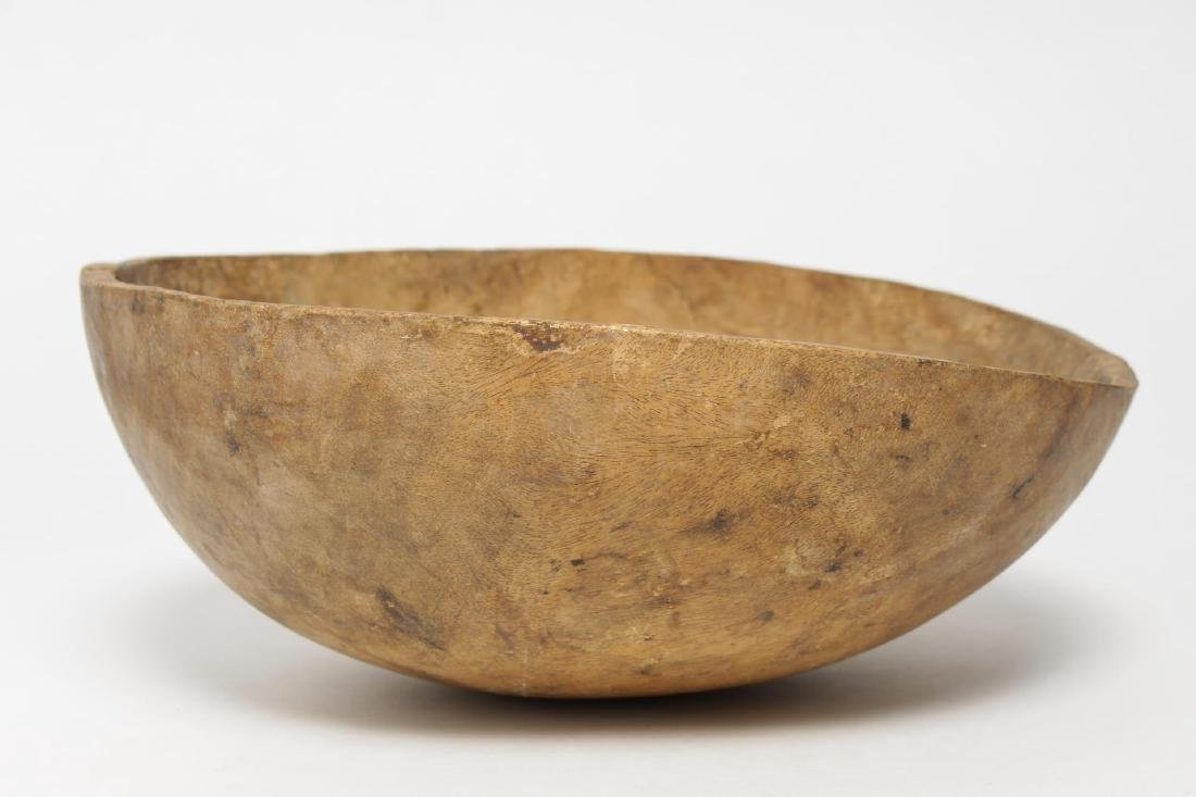 African Tribal Wood Bowl, Hand-Carved