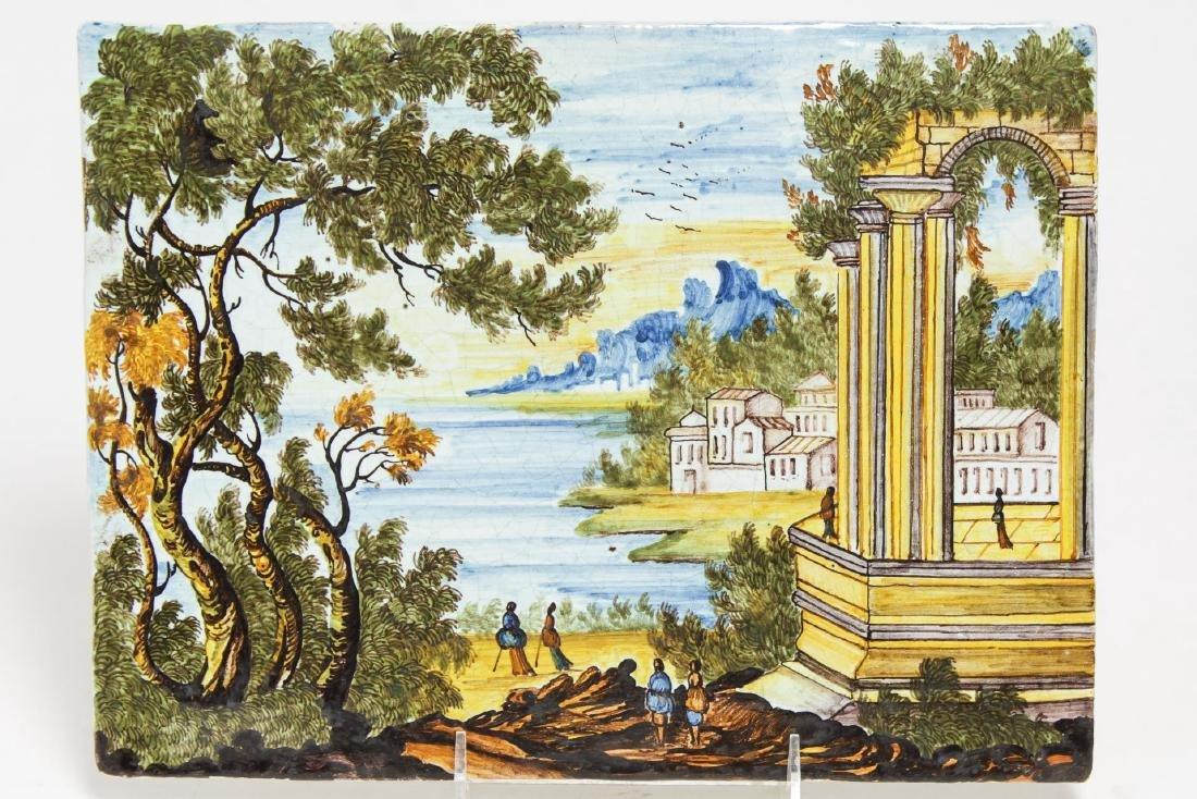Italian Venetian Ceramic Tile, Hand-Painted