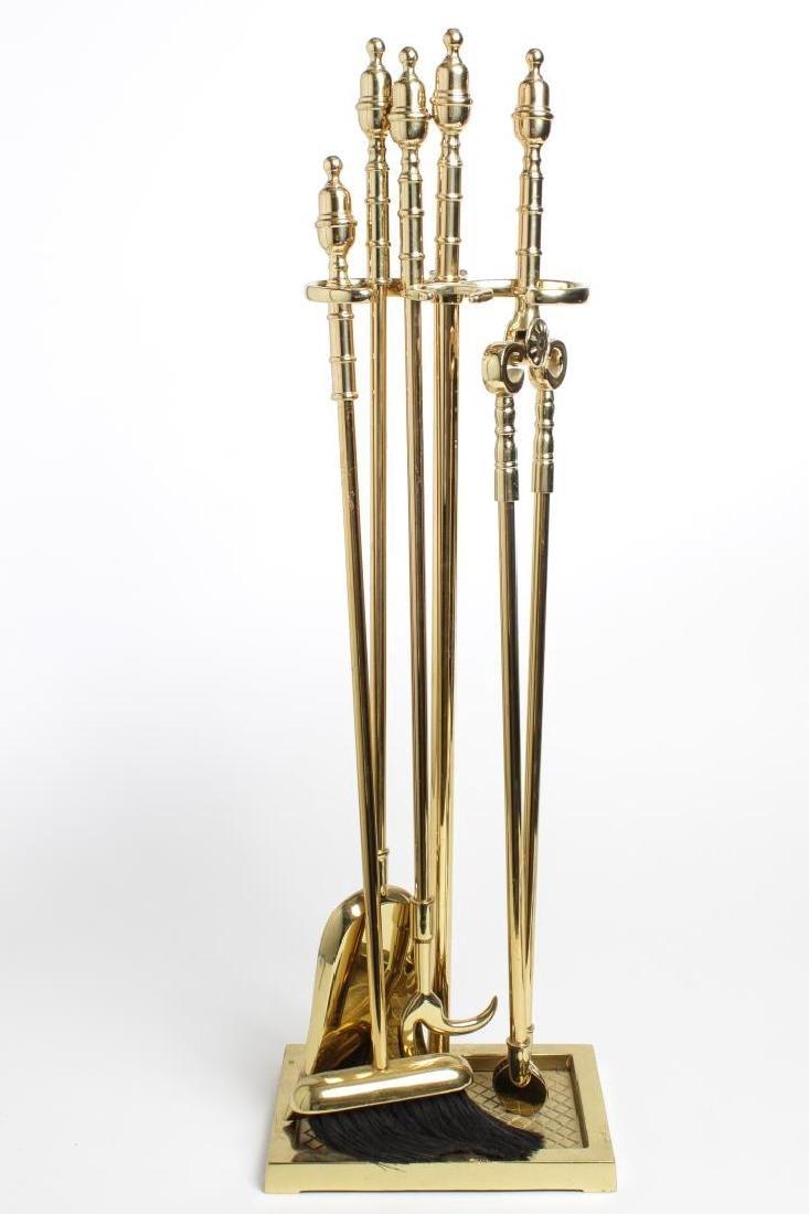 Brass Fireplace Tools, Vintage 5-Piece Set