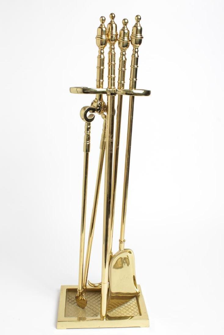 Brass Fireplace Tools, Vintage 5-Piece Set - 3