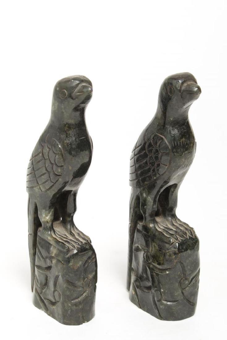 Chinese Nephrite Jade Bird Sculptures, Facing Pair